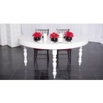1/2 Moon Sweetheart White Lacquer Table