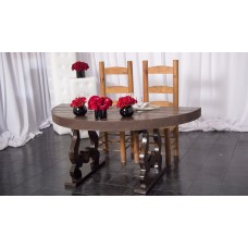 1/2 Moon Sweetheart Tuscan Rustic Table