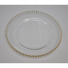 Glass gold Beaded Plate  Charger
