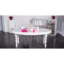Oval Mirror Top White Lacquer Table